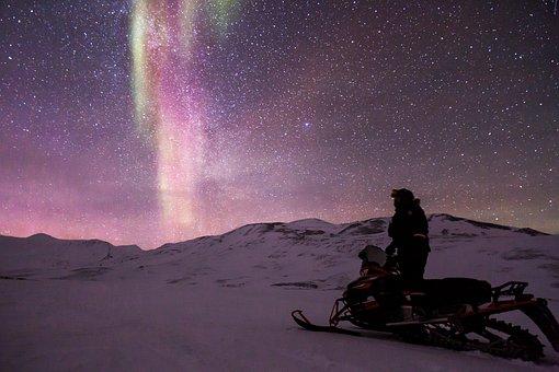 Snowmobile, Aurora, Auroras, Northen Light, Scooter