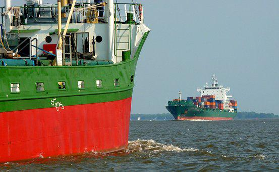 Container, Seafaring, Elbe, Ship, Mood, Maritime, Water