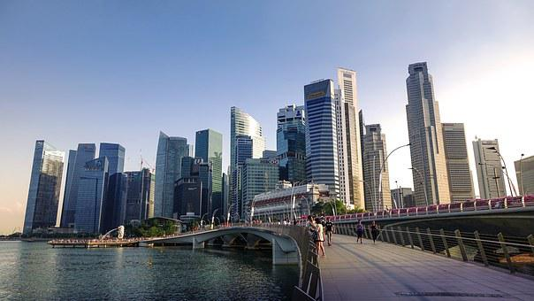 Singapore, Singapore River, Jubilee Bridge, Skyline
