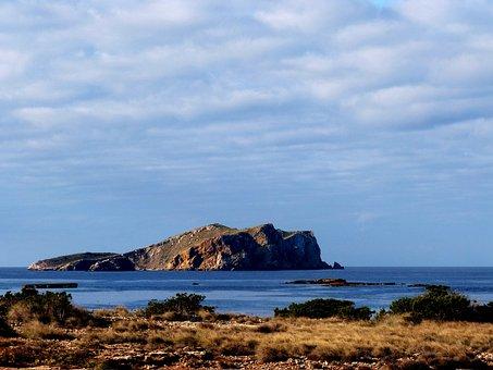 Island, Sea, Clouds, Grasses, Ibiza, Spain, Sky, Coast