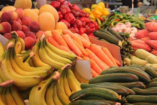 Fruits, Banana, Market, Food, Fresh, Street, Tropical