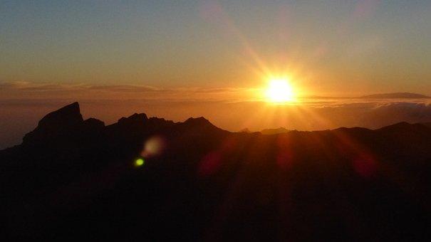 Sunset, Teno Mountains, Sun, Back Light, Tenerife