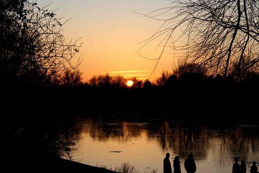 Sunset, Main, Sky, City, Nature, Bank, Clouds, Mood