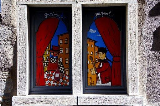 Lyon, Guignol, Window, Puppets, Tradition, Theatre