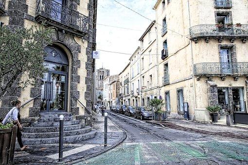 Street, City, Urban, Shops, Sidewalk, Woman