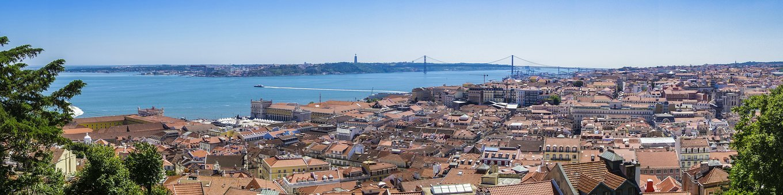Lisbon, View, Castle Of Sao Jorge, Panorama, Bridge