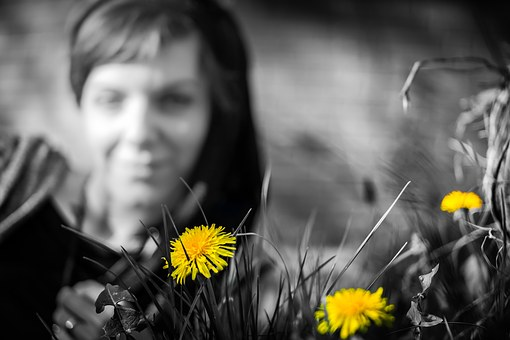 Dandelion, Yellow, Woman, Flower, View, To Watch