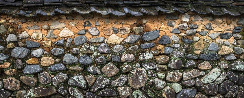 Roof Tile, Damme, Wall, Stone, Stone Wall, Ocher, Grey