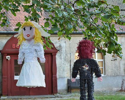 Dolls, Wedding Dolls, Bride And Groom, Play, Love, Out