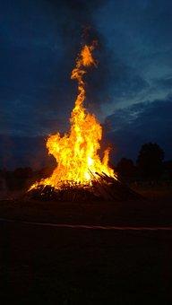 Fire, Midsummer, Flame, Wood, Dark, Night, Solstice