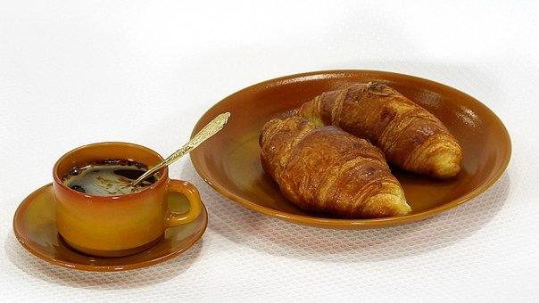 Croissants, Plate, Cup, Coffee, Brown, Brunette, Saucer