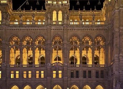 Vienna, Austria, City Hall, Building, Architecture, Sky