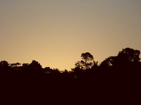Sunset, Gold, Cabrália, Hill, Mountain
