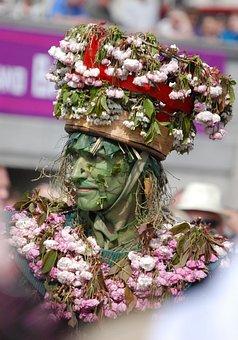 Carneval, Man, Green Man, Hat, Flowers, Face