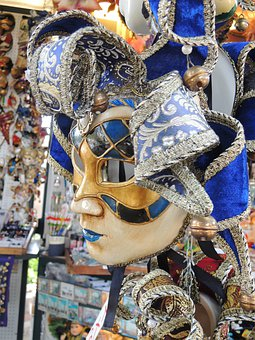 Venice, Taly, Mask, Blue, Face, Carnival
