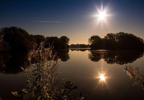 Lake, Sunset, Reflection, Scene, Beautiful, Calm, Dawn
