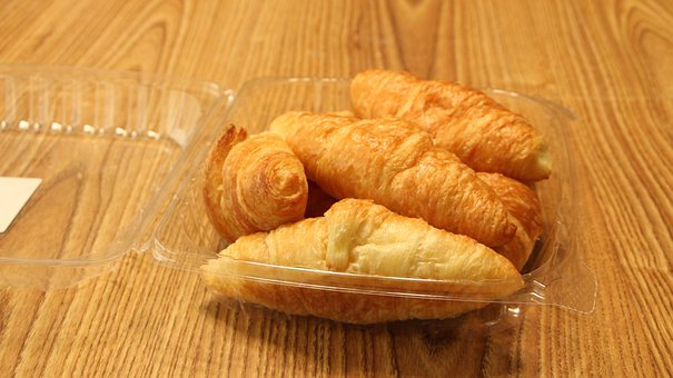 Croissant, Delicious, Buttery, Plastic, Wood