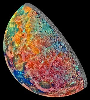 Moon, Increasingly, False Color, Space, Crater