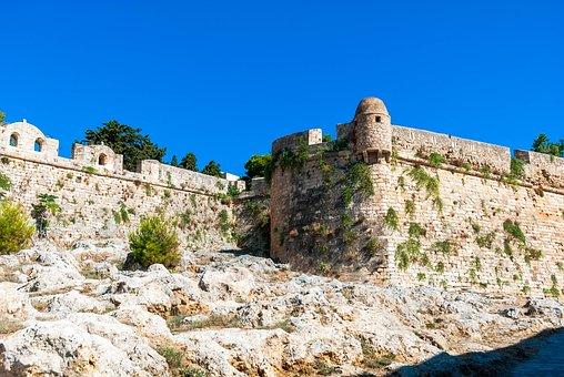 Crete, Rethymno, Sea, Fortress, Color, Monuments