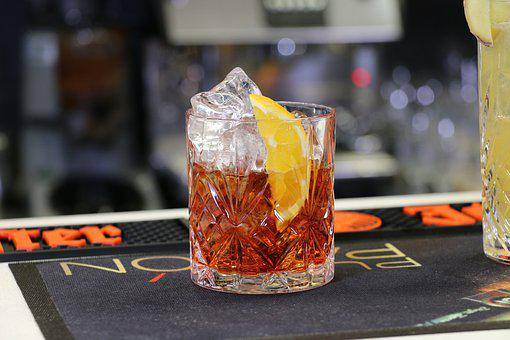 Alcohol, Negroni, Bar, Drink, Cocktail, Glass, Ice
