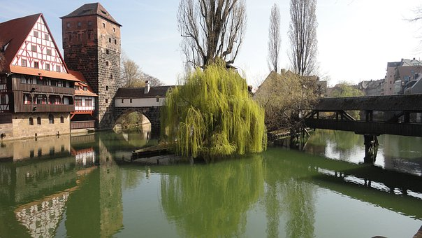 Hangman's Bridge, Nuremberg, Old Town, Bridge, Water