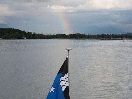 Lake Hallwil, Rainbow, Lake, Flag