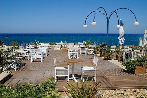 Crete, Rethymno, Sea, Restaurant, Holiday