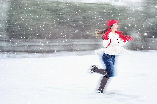 Joy, Happiness, Laughter, Snow, Winter, Woman Running