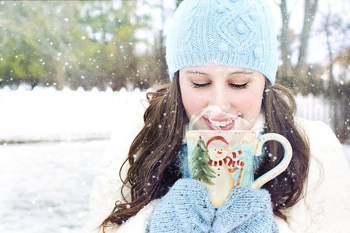 Winter, Snow, Pretty Woman, Hot Chocolate, Coffee, Cold
