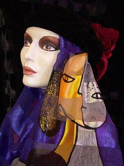 Manekin, Picasso, Woman Manequin, Blue, Yellow, Black