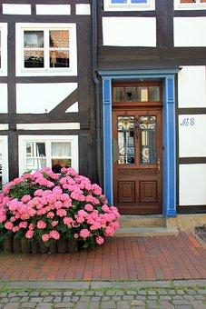 Building, Home, Truss, Door, Flowers, Idyll, Window