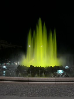 Vienna, Fountain, Water, Illuminated, Austria