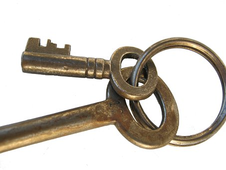 Key, Isolated, Metal, Ring, Close