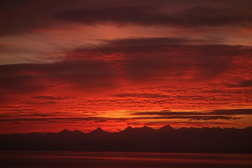 Clouds, Alps, Lake, Morning, Sky, Red, Neuchâtel