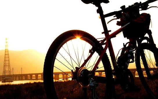 Sunset, Sun, Jiang, River, Bike
