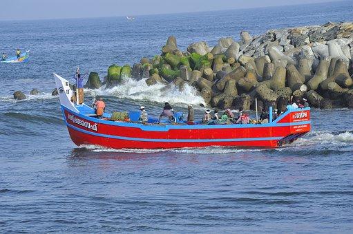 Fishing Boat, Perumathura Beach, Colourful, Trivandrum