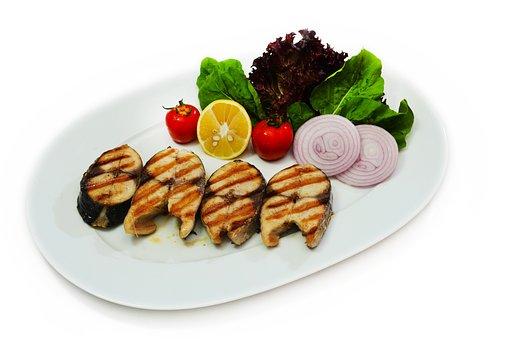 Kitchen, Fish, Bonito, Food, Plate, Grid, Vegetables