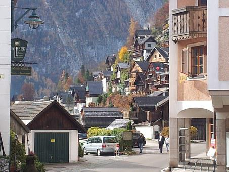 Hallstadt, Building, Austria, Mountains, Road, Streeet