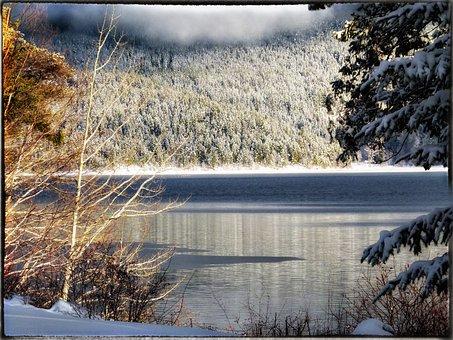 Canim Lake, Sunny, Winter, Water, British Columbia