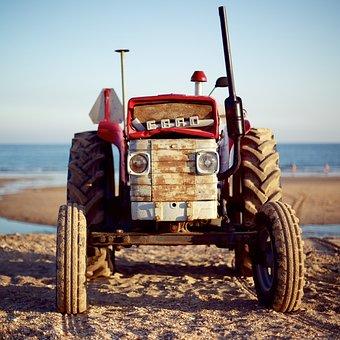 Tractor, Beach, Summer, Blue, Sea, Holiday, Ocean, Sand