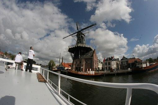 Windmill, Ship, Netherlands, Holland, Friends, Water