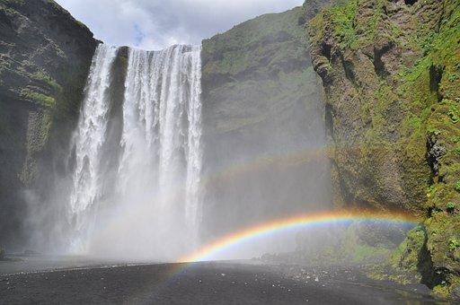 Iceland, Bílá, Skogafoss, Rainbow, Nature, Landscape
