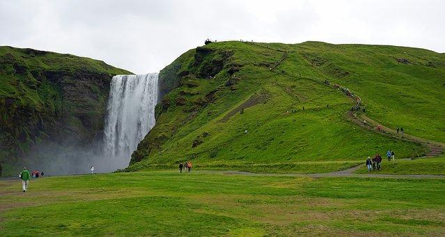 Skogafoss, Waterfall, Iceland, Landscape, Water, Deep