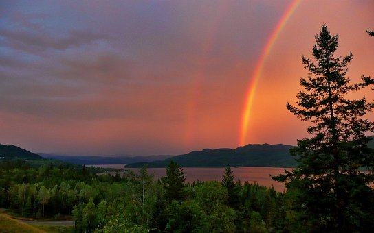 Red, Thunderstorm, Rainbow, Canim Lake