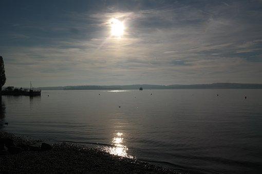 Lake Constance, Water, Bank, Sunset