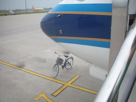Airplane, Bicycle, Air Safety, China, Take Off, Travel