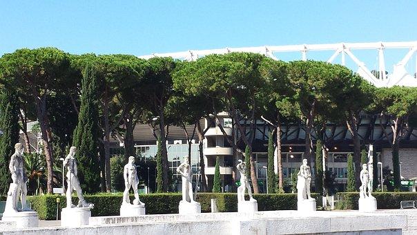 Rome, Stadium, Classic, Modern, Statues, Summer