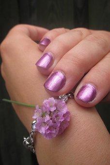 Nails, Hand, Jewel, Bracelet, Flower, Paint, Pink