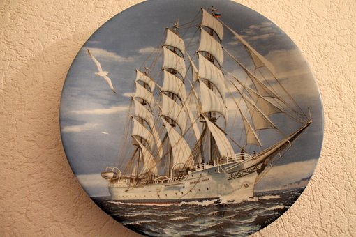Collection Plate, Ship, Porcelain, Collect, Collection