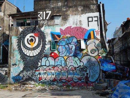 Graffiti, Bangkok, Street Art, Painting, Street, Asia